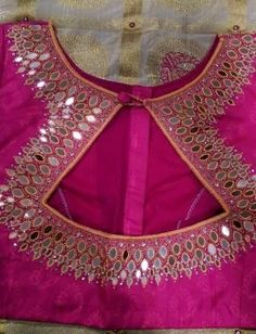 Classy blouse design for pattu sari Read about Saree Blouse Neck Designs, Fancy Blouse Designs, Saree Blouse Patterns, Dress Neck Designs, Mirror Work Blouse Design, Mirror Work Saree Blouse, Stylish Blouse Design, Bollywood, Designer Blouse Patterns
