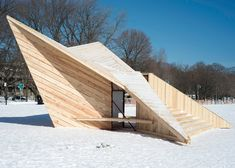 Toronto lifeguard towers converted into winter pavilions.