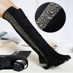 Hoof Heels Round Toe Sleeve Suede Thigh Black Over The Knee Boots Rhinestone Woman Shoes Winter 2015 Stretch Fabric Chunky Heel