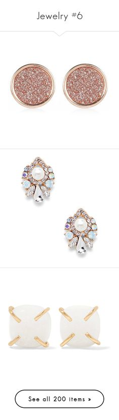 """""""Jewelry #6"""" by giamorningstar ❤ liked on Polyvore featuring jewelry, earrings, glitter stud earrings, earring jewelry, rose gold tone jewelry, rose gold tone earrings, river island jewellery, accessories, pearl combo and statement earrings"""