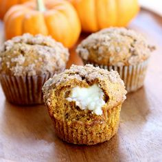 made a simpler version by combining the 2-ingredient muffins (cake mix and pumpkin...with the addition of pumpkin pie spice) with the cream cheese center (though zapped it a little too long in the microwave, so should have let it harden up a bit more first)
