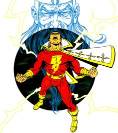 Captain Marvel and the wizard Shazam. Art by George Perez. Original Captain Marvel, Captain Marvel Shazam, Marvel Dc, Shazam Comic, Dc Heroes, Comic Book Heroes, Comic Books Art, Comic Art, Dc Comics Superheroes
