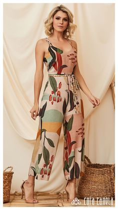 Green Taffeta Floral Print A-Line Midi Dress Jumpsuit Outfit, Casual Jumpsuit, Dress Outfits, Summer Jumpsuit, Jumper Outfit, Girls Fashion Clothes, Girl Fashion, Fashion Top, Classy Outfits