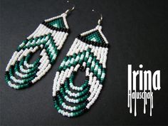 beaded earrings native White and emerald Native american style beaded earring Seed bead earrings Emerald earring Fringe earring Native earrings Dangle earring Boho Beaded Earrings Native, Beaded Earrings Patterns, Beaded Jewelry, Bracelet Patterns, Hoop Earrings, Emerald Earrings, Native Beading Patterns, Seed Bead Patterns, Diy Seed Bead Earrings