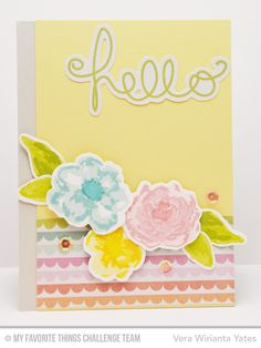Watercolor Flower Hello Card by Vera Wirianta Yates featuring the Watercolor Flowers stamp set and Die-namics - Happy SN@P! Pack
