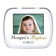 Personalized Baptism Photo Mint Tin Favor