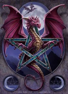 The crest of the House of the Red Moon was a dragon within a pentacle.  Ozzie took a particular pride in the fact that one of his ancestors had posed for the sculpture.  #dragon #tattoos #tattoo