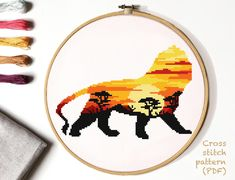 Nature & flowers inspired modern cross stitch patterns by VladaXstitch Cross Stitching, Cross Stitch Embroidery, Peler Beads, Modern Cross Stitch Patterns, Print Patterns, Pattern Designs, Le Point, Lion, Etsy