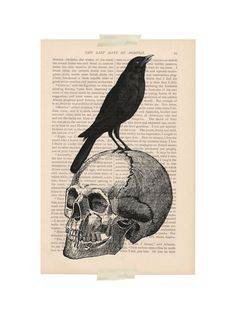 scary halloween decorations - CROW on SKULL - dictionary art print on Etsy, $9.00