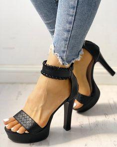 Plain High Heeled Velvet Ankle Strap Peep Toe Casual Date Platform Sandals - Shopx Strap Heels, Pumps Heels, Ankle Strap, Stiletto Heels, High Heels, Black Heels, Trend Fashion, Fashion Shoes, Fashion Clothes