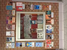 Display for the school's 20 year anniversary with most popular book(s) for the year.