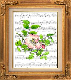 English Flower, Pink, Victorian Art, Sheet Music Print Poster, Wall Hanging, Unique Gift, Book Art, Dorm Room, Greeting Card, Yellow Flower