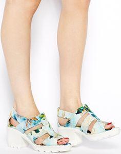 Enlarge Swear Jane 4 Blue Floral Mid Heeled Sandals