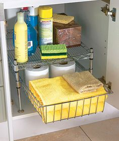 If you are looking for organizational ideas to maximize the space in your cupboards then check out the Under Cabinet Storage Racks fromThe Lakeside Collection.  Simple storage solutions for any kitchen, bathroom or bedroom.