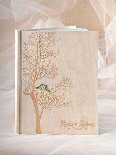Tree Wedding Guestbook, Destination Guestbook, Birds Guestbook , Custom colors Guestbook, Rustic guestbook