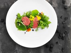 Rump of beef cooked in hay with samphire and watercress