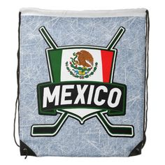 #México Mexico Hockey Flag Logo Cinch Bag. Drawstring backpacks. Great for school, college, the gym, work! $18.95 each. To see more #hockey goodies, please check out my store: http://www.zazzle.com/gamefacegear*/