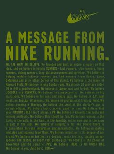 Nike Running - we are what we belive