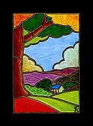 """Valley View with Church"" 12"" x 16"" on deep gallery-wrapped canvas, original acrylic in my signature ""Stained-Glass-Canvas"" style. $125.00"