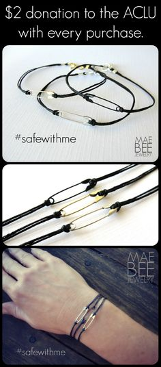 #Safetypin bracelets to show your/my support. #safewithme $2 ACLU donation with every purchase. www.jewelrybymaebeejewelry.etsy.com