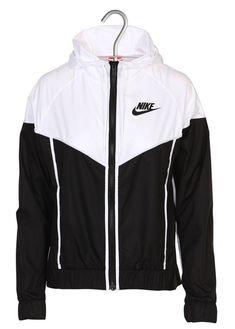Black zipped hoodie jacket by NIKE Womens Windbreaker, Windbreaker Jacket, Hoodie Jacket, Nike Jacket, Cute Nike Outfits, Sporty Outfits, Black Zip Hoodie, Moda Paris, Simple Shirts