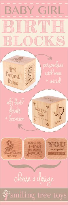 Keepsake Girl Birth Block // The perfect personalized, natural, heirloom gift celebrating baby girl's birth // Smiling Tree Toys