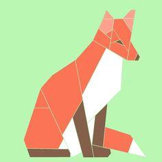 Red Fox paper-piecing quilt pattern, PDF