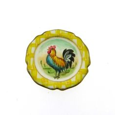 Signed Christopher Whitford Handpainted Rooster Plate 1:12 Scale | eBay