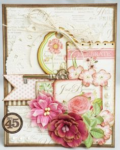 many layered card made with Graphic 45 Botanical Tea papers and lots of embellishments ~ so pretty.  Botanical Tea papers are available at #Stampassion ~ www.stampassion.com
