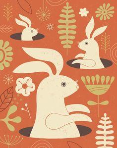 Pop-Up Bunny, limited edition giclee print, cute bunny, childrens decor. $35.00, via Etsy.
