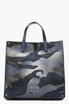 Valentino Blue & Black Leather-paneled Camouflage Tote for men | SSENSE