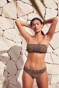 Leopard Print Shirred Bikini Top High Leg Bikini, Black Bikini, Bandeau Bikini, Bikini Tops, Bikini Babes, White Bikinis, Victoria Secret Bikini, Kendall Jenner Outfits, Victoria Dress