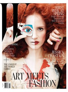 Looking Back at the W Magazine Art Issue - jessica chastain by george condo
