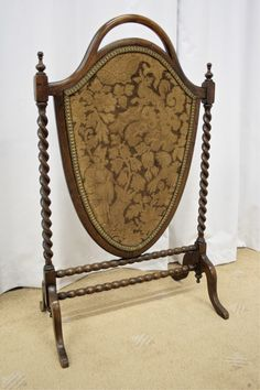 Victorian Mahogany Upholstered, Shield Shaped Fire Screen With Barley Twist And Bobbin-Turned Supports Cottage Fireplace, Victorian Fireplace, Fireplace Hearth, Fireplaces, Fireplace Fender, Dressing Screen, Dollhouse Tutorials, Decorative Screens, Victorian Cottage