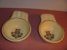 2-HTF-Pfaltzgraff-Village-Fruit-Bowls-with-Basket-Weave-Wicker-Style-Handle