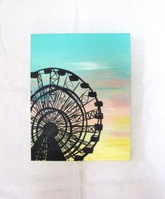 Ferris Wheel Painting, ORIGINAL vintage art, 11X14 inches, blue, pink, yellow - by artist, Anna Tooze