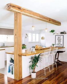 Best Farmhouse Style Kitchen Islands Design Ideas – Decorating Ideas - Home Decor Ideas and Tips Kitchen Bar Design, Kitchen Styling, Interior Design Kitchen, Modern Interior, Interior Designing, Kitchen Sets, Home Decor Kitchen, Home Kitchens, Modern Kitchens