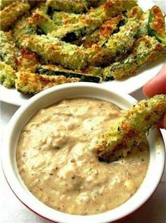 French Onion Dip with zuccini sticks