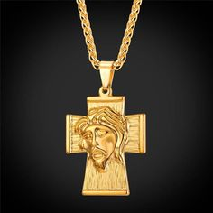 U7® Shop Anniversary ! Up to 30% Off ! Jesus Piece Cross Necklace Men Hip Hop Big Christian Jewelry 18K Gold Plated Pendant & Chain