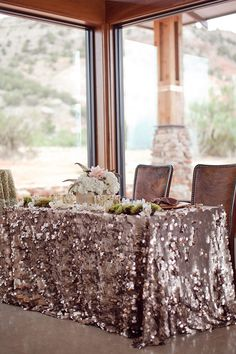 Rustic Glam Wedding by Cristy Cross « Southern Weddings Magazine. Linens by LaTavola Linens, Wedding Design & Florals by Designs Wedding Table, Wedding Reception, Our Wedding, Dream Wedding, Wedding Rustic, Mauve Wedding, Sequin Wedding, Trendy Wedding, Deco Table