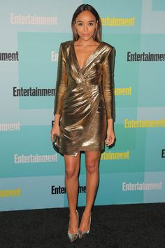 Ashley Madekwe glimmered in gold.