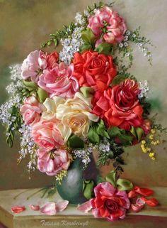 """Ricamo per quadro"""" Rose in vaso"""" di Le meravigle di nastro su DaWanda.com"""