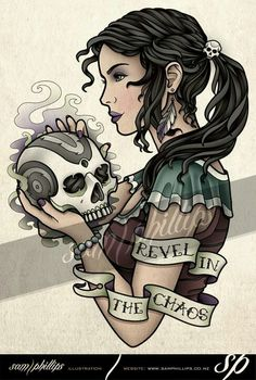 Gipsy with skull by Sam Phillips
