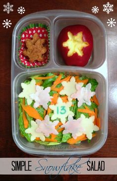 Lunch Made Easy: Simple Snowflake Salad  {Advent School Lunches Christmas Countdown} @Easylunchboxes