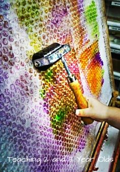 Painting on Bubble Wrap with Brayers: This is a wonderful pre-writing exercise because it extends the wrist. In this activity, the preschoolers rolled paint on the bubble wrap and then pressed paper against it to make a print. ≈≈