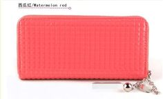 Hot selling small plaid women's wallet long design candy color japanned leather zipper wallet card coin purse-inBag Parts & Accessories from...