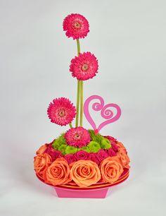 Oval and Orange Valentine Floral Centerpiece