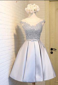 Satin Short Lace Homecoming Dresses,Hoco Dresses, Graduation Dresses,