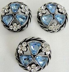 Rare Vintage Silver & Rhinestone Buttons & Matching Pin.