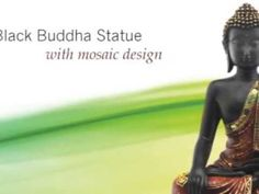 Black Buddha Statue with Mosaic Design on a Base Black Buddha, Video Channel, Mosaic Designs, Philosophy, Zen, Spirituality, Peace, Statue, Learning